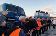 Sassnitz-Mukran, 12 November 2019.  The first two direct freight trains from China to Mecklenburg-Vorpommern met on Tuesday, November 12, 2019, at the port of Mukran.